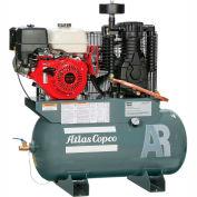Atlas Copco AR-13, 13 HP, Stationary Gas Compressor, 30 Gallon, 175 PSI, 25.3 CFM,Honda, Electric