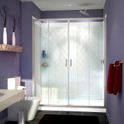 """DreamLine DL-6115C-04CL Visions Shower Door 36"""" x 60"""" Shower Base Center Drain & QWALL-5 Backwalls"""
