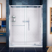 "DreamLine DL-6116R-01CL Infinity-Z Shower Door 30"" x 60"" Shower Base Right Drain & QWALL-5 Backwalls"