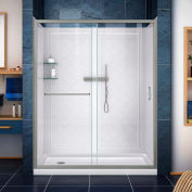 "DreamLine DL-6119L-04CL Infinity-Z Shower Door 36"" x 60"" Shower Base Left Drain & QWALL-5 Backwalls"