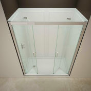 "DreamLine DL-6121L-01CL Butterfly Shower Door 32"" x 60"" Shower Base Left Drain & QWALL-5 Backwalls"