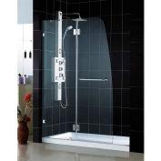 """DreamLine DL-6514C-04CL AquaLux Frameless Hinged Shower Door & SlimLine 36"""" x 48"""" Shower Base"""
