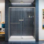 """DreamLine DL-6970C-04CL Infinity-Z Sliding Shower Door & SlimLine 30"""" x 60"""" Shower Base Center Drain"""
