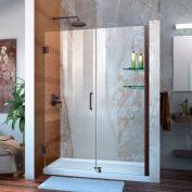"DreamLine SHDR-20477210CS-06 Unidoor 47"" - 48"" Frameless Hinged Shower Door Oil Rubbed Bronze Finish"