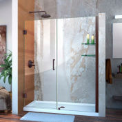 "DreamLine SHDR-20567210S-06 Unidoor 56"" - 57"" Frameless Hinged Shower Door Oil Rubbed Bronze Finish"