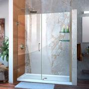 """DreamLine™ Unidoor Frameless Adjustable Shower Door SHDR-20577210S-04 W/Glass Shelves, 57""""-58"""""""
