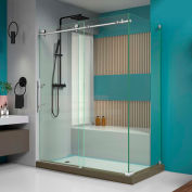"""DreamLine SHEN-6134600-07 Enigma-X 34 1/2"""" x 60 3/8"""" Shower Enclosure Brushed Stainless Steel Finish"""