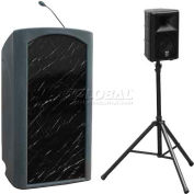 Summit™ Presenter Lectern, Gray Granite Shell/Black Marble Front Insert