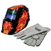 Lincoln Solar Var Shade Welding Helmet, Dark Fire Skull w/Glove - LEW-K2799-1