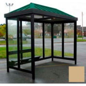 Heavy Duty Bus Smoking Shelter Hip Roof 3-Sided Front Open 5' x 10' Khaki Roof