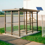 Heavy Duty Bus Smoking Shelter With Solar LED, Flat, 3-Side, Front Open, 5' X 12', Bronze