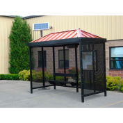Heavy Duty Bus Smoking Shelter With Solar LED, Hip, 4-Side, Right Front Open, 5' X 12', Green