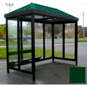 Heavy Duty Bus Smoking Shelter Hip Roof 4-Sided Left/Right Front Open 5' x 12' Classic Green Roof