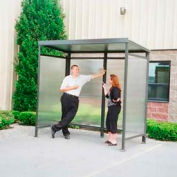 Heavy Duty Bus Smoking Steel Shelter Flat Roof 3-Sided Front Open 4' x 8' Bronze