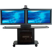AVTEQ GMP-200L-TT1 Videoconferencing A/V Cart, Steel, Black