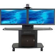 AVTEQ GMP-350L-TT2 Videoconferencing A/V Cart, Steel, Black