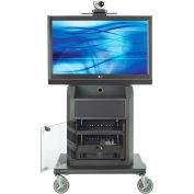 AVTEQ RPS-800S Mid-Level Videoconferencing Cart, Steel, Black