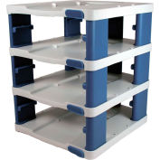 Araven 19861 - Food Storage Container Tower, PP, Holds (3) 1/1 Size Containers W/Lids, White & Blue