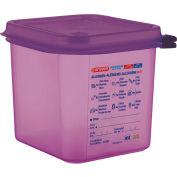 Araven 61390 Food Container, Anti-Allergen, W/Lid, Polypropylene, 2.7 Qt., 1/6 Size, Purple Package Count 6