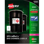 Avery® Full-Sheet GHS Chemical Waterproof & UV Resistent Labels, Laser, Letter, 50/Box