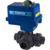 """BI-TORQ 1"""" 3-Way L-Port PVC Ball Valve W/ NEMA 4 115VAC/4-20mA Positioner"""