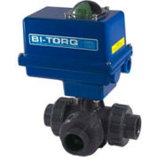 "1/2"" 3-Way T-Port PVC Ball Valve W/ NEMA 4 115VAC"