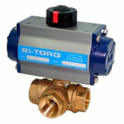 "1-1/2"" 3-Way L-Port Brass NPT Ball Valve W/Dbl. Acting Pneum. Actuator"