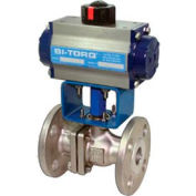 "3/4"" SS Split Body ANSI 150# Flanged Ball Valve W/Dbl. Acting Pneum. Actuator"
