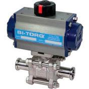 "BI-TORQ 1"" 3-Pc SS Sanitary Clamp End Ball Valve W/Spring Ret. Pneum. Actuator"
