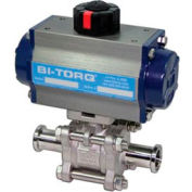 """3"""" 3-Pc SS Sanitary Clamp End Ball Valve W/Dbl. Acting Pneum. Actuator"""