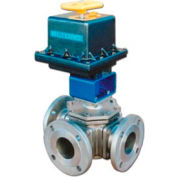 "BI-TORQ 4"" 3-Way L-Port SS 150# Flanged Ball Valve W/NEMA 4 115VAC/4-20mA Positioner"