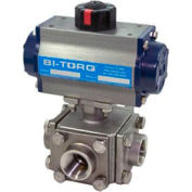 "1"" 3-Way T-Port SS NPT Threaded Ball Valve W/Spring Ret. Pneum. Actuator"