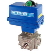 "BI-TORQ 1-1/4"" 3-Way T-Port SS NPT Threaded Ball Valve W/NEMA 4 115VAC"