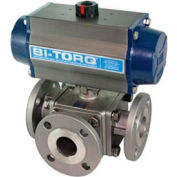 "4"" 3-Way T-Port SS 150# Flanged Ball Valve W/Spring Ret. Pneum. Actuator"