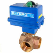 "1-1/4"" 3-Way L-Port Bronze NPT Ball Valve W/Spring Ret. Pneum. Actuator"