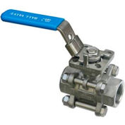 "1/4"" 3-Pc SS NPT Ball Valve With Manual Locking Handle"