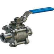 """3/4"""" 3-Pc SS Sanitary Clamp End Ball Valve With Manual Locking Handle"""