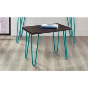 Owen Retro Stool Espresso Finish with Teal Metal Legs