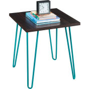 Owen Retro End Table Espresso Finish with Teal Metal Legs