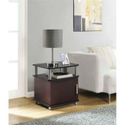 Carson End Table with Storage Cherry and Black Finish