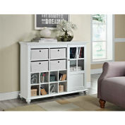Reese Park Storage Cabinet with 4 Fabric Bins & Glass Door White Finish
