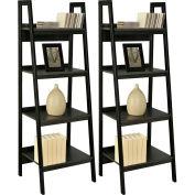 Ameriwood Ladder Bookcase Bundle Set of 2 Black Finish