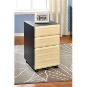 Benjamin Vertical 3-Drawer Mobile File Cabinet Natural and Gray