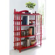 Ameriwood Daysha 4-Shelf Spindle Leg Bookcase Red Finish