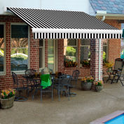 """Awntech KWL18-KW, Retractable Awning Left Motor 18'W x 10""""D x 10""""H Black/White"""