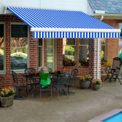 "Awntech MM10-12-BBW, Retractable Awning Manual 10'W x 8'D x 10""H Blue/White"