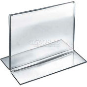 """Azar Displays 152730 Horizontal Double Sided Stand Up Sign Holder, 5"""" x 4"""", Acrylic"""