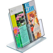 "Azar Displays 222975, Brochure HLR, 9""W x 8.5""H, 2 Pockets, CLR, 1-Pack"