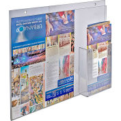 "Azar Displays 252051, Wall Mount Acrylic Sign HLR W/Trifold Brochure Pockets, 14""W x 11""H, 1-Pack"