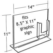 "Azar Displays 252053 Vertical Double Sided Sign Holder W/ Brochure Pocket, 14"" x 11"", 1-Piece - Pkg Qty 2"